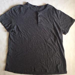 VINCE. Dark grey 3 button t-shirt